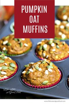 Make these Pumpkin Oat Muffins with whole wheat flour for a healthier, whole grain muffin sweetened with dark brown sugar and maple syrup. Brunch Recipes, Fall Recipes, Breakfast Recipes, Fall Breakfast, Breakfast Ideas, Dessert Recipes, Raw Pumpkin Seeds, Pumpkin Spice, Cinnamon Spice