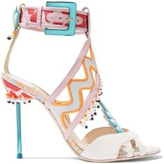 Sophia Webster Nereida appliquéd printed leather and satin sandals ($935) ❤ liked on Polyvore featuring shoes, sandals, heels, white, white shoes, high heel shoes, beach sandals, white sandals and beaded sandals