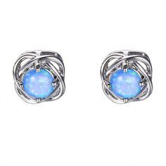 Купить товарВинтаж Мода Синий/Белый Огненный Опал Серьги Стержня для…