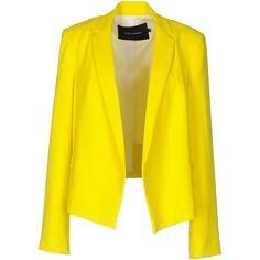Tara Jarmon Blazer (3.259.195 IDR) ❤ liked on Polyvore featuring outerwear, jackets, blazers, yellow, yellow blazer jacket, multi pocket jacket, single breasted jacket, yellow blazer and collar jacket