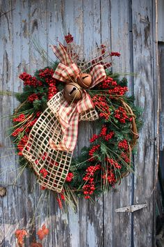 Christmas Wreath, Pine, Red Berries, Mixed Ribbons, Rusty Bells