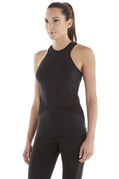 Michi Galvanize Black Top - Designer Tank Top - For many of us, black is our favorite color when working out. This is because black is known around the world as a slimming color. For your new addition to your wardrobe for the gym, you can take joy and superior comfort in the Michi Galvanize Tank, a fresh and flattering style with perfect, large mesh cut outs that give you designer style and a totally modern look. #michi
