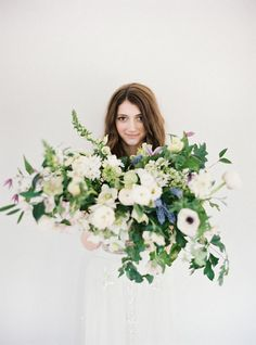 White and Green Bridal Bouquet | Pastel Spring Wedding Inspiration