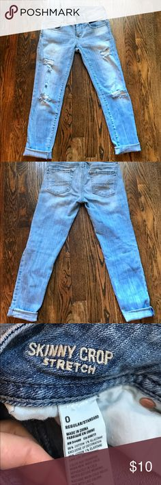 American Eagle Skinny Cropped Distressed Jeans So cute with a light wash and distressed. I bought these in a bundle on here and discovered a sad fact that Size 0 doesn't fit me in all AE jeans. These fit like 00. American Eagle Outfitters Jeans Skinny