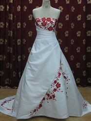 Red customizable floral gown from Weddingdressfantasy.com