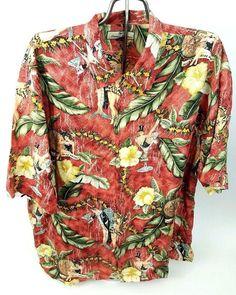 TOMMY BAHAMA Men's 100% Silk Hawaiian Shirt Aloha Martinis Hula Girls Floral WOW #TommyBahama #Hawaiian