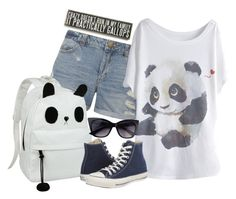 """""""Cute Panda Tee"""" by nika-love ❤ liked on Polyvore featuring мода, Dorothy Perkins, Converse и Primitives By Kathy"""