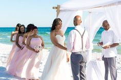 sunset beach wedding ceremony in Destin Florida by Princess Wedding