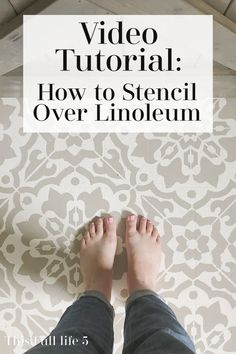 Check out this video tutorial on how to transform outdated linoleum floors using a stencil! #stencils #smallkitchen #linoleum