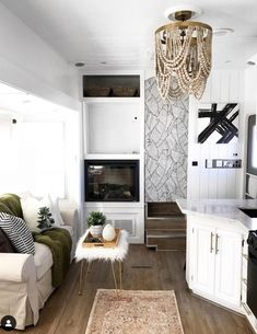 20 Inspiring RV makeovers and renovations, and a peek at our RV camper trailer before we renovate! Living Room Remodel, Rv Living, Tiny Living, Living Room Decor, Living Spaces, Rv Interior, Interior Ideas, Camper Makeover, Remodeled Campers