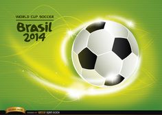 """Background with football and energy waves around it, it has """"Brasil 2014 World Cup Soccer"""" written with the logo. It's perfect to use in any promo for this championship. Under Commons 4.0. Attribution License."""