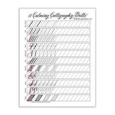 """11 Calming Calligraphy Drills"" Printable"