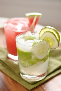 Hot summer days call for refreshing cucumber cocktails. This post features recipes for beautiful watermelon cucumber coolers and cucumber caipiranhas. Summer Cocktails, Cocktail Drinks, Fun Drinks, Cocktail Recipes, Alcoholic Drinks, Beverages, Refreshing Drinks, Fruity Drinks, Spiked Watermelon
