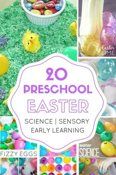Fun preschool Easter activities that include science, math, literacy, sensory play recipes, and fine motor skills. Toddler, Preschool, and Kindergarten age appropriate activities for Easter early learning.