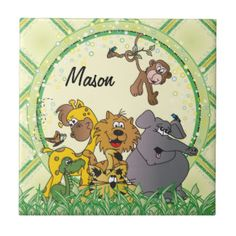 #DesignsByDonnaSiggy #Safari #Jungle #Baby #Animals #Nursery #Theme #gifts #baby #zazzlebesties #zazzle.com #Tiles