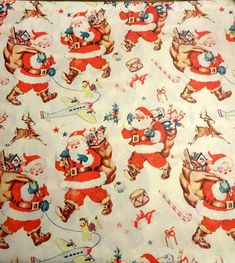 Vintage 1950's Christmas Wrapping Paper, Santa and His Bag, NOS   eBay
