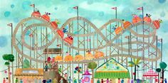 """""""Roller Coaster Fun"""" Wall Decor for Children's Bedrooms and Playrooms by Maria Carluccio for Oopsy Daisy, Fine Art for Kids sizes 24x12 $99 and 48x24 $239 Cool Wall Decor, Cool Wall Art, Cool Art, Baby Wall Art, Canvas Wall Art, Abandoned Amusement Parks, Art Classroom, Teaching Art, Art Lessons"""