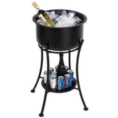 Beverage Tub with Stand TSC sku : 14108 Simple but classic, this tub stand holds 24 cans with ice and has a decorative storage shelf below. As low as $116.80