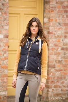 Horseware Ladies Collection A/W15: Tara gilet   Herringbone hoody   Ladies denim breeches
