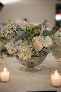 Hydrangea Rose and Poppy Arrangement in Mercury Glass