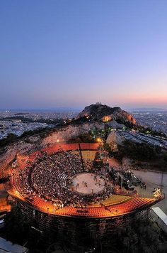 The Lycabettus Hill Theater in Athens, Greece Mykonos Greece, Crete Greece, Athens Greece, My Athens, Greek Isles, Parthenon, Acropolis, Greece Islands, Ancient Greece
