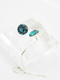 Cercei argint cu lantisor si cristale swarovski xirius turcoaz Cristal: 7mm Lungime lantisor: 6.5 cm