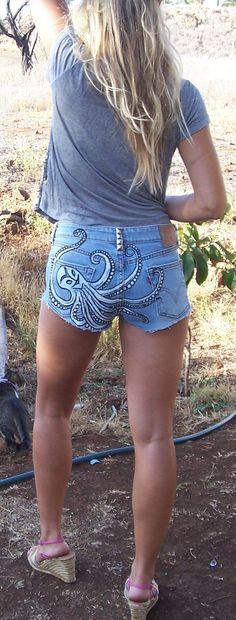 Octopus Tribal Design Upcycled Denim Shorts by reMusedClothing,