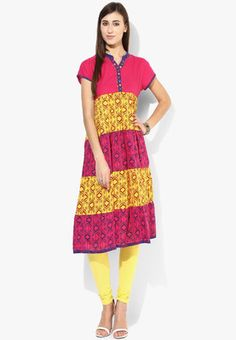 Short Sleeves Tiered Bhandni Printed Kurta You will surely earn scores of new admirers when you team this fuchsia kurta by Sangria with a matching churidar. Beautified with a striking bandhej print, it features button detailing on the placket. Tailored in regular fit from cotton, it is extremely skin friendly. http://jbo.ng/AMfUu7J