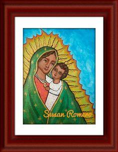 """""""La Virgencita De Guadalupe Y El Niño Jesus"""". By Boyle Heights artist Susan Romero - Artesusanias"""
