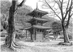 [김영택 화백의 세계건축문화재 펜화 기행] 화순 쌍봉사 삼층목탑 - 중앙일보 뉴스 Perspective Room, Perspective Drawing, Ink Pen Drawings, Drawing Sketches, Korean Painting, Pen Sketch, Chinese Architecture, Korean Art, Old Building