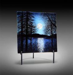 """Moon over Lake"" J. David Norton. Fused Glass steel stand"