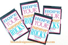 end of school gifts with free tags...attach to a package of poprocks for a last day of school treat.