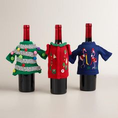 Ugly Holiday Sweater Bottle Outfits, Set of 3