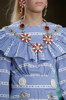 PFW miu miu AW 15 oversized flower jeweleries with crystal embellished dress Beautiful