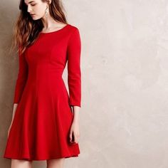 ‼️BIGSALE✨NWT Anthropologie Crosstown Red Dress! BRAND NEW WITH TAGS! • Poshmark image sizing rules made the photos come out a little strange, but it is a beautiful dress • red • zip back • 3/4 sleeve • exactly as shown in photos • can be dressed up or down • Original price: $148 • OFFERS ✅ Anthropologie Dresses