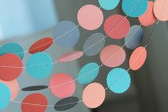 Paper Garland . Coral Teal Peach Gray