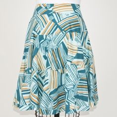 "Odille Abstract print skirt Beautiful Odille Skirt from Anthropologie.  In Perfect Condition...just needs pressing. Size: 4.  Length: 23"". Closure: Side Invisible Zipper. Fully Lined. Anthropologie Skirts A-Line or Full"
