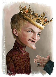 Caricatura de Joffrey Baratheon de Juego de Tronos