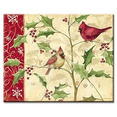 CounterArt Cardinals and Holly Cutting Board
