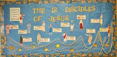 Bulletin Board for the 12 Disciples of Jesus with all the free printables to make it! You add the title and netting!