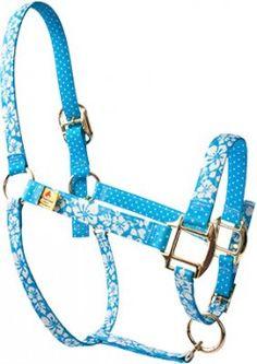 Island Floral Blue High Fashion Horse Halter <3