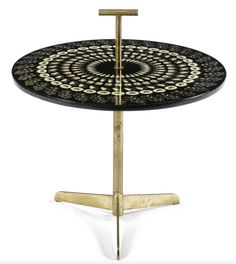 Gio Ponti and Piero Fornasetti; Brass and Lithographed Paper over Wood, Occasional Table, c1955.