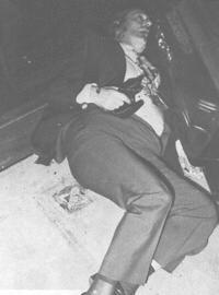 "The body of Paul ""Big Paulie"" Castellano, boss of the Gambino family lying outside of Sparks Steak House on New York's East 46th Street, on December 16,1985."