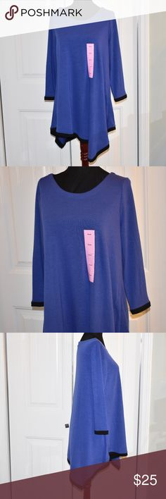 "Wild Blackberry / Black Asymmetrical Tunic Top S Chelsea Theadore Size Small 40"" Bust 32"" Long 26"" Sleeve New With Tags Chelsea Theadore Tops"