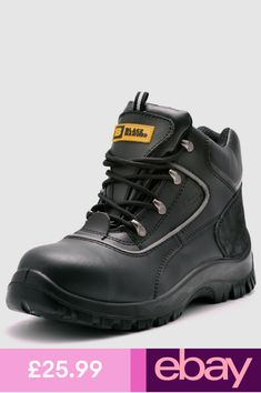 Black Hammer Fashion Boots Clothes, Shoes & Accessories Steel Toe, Types Of Shoes, Fashion Boots, Leather Men, Work Wear, Hiking Boots, Shoe Boots, Lace Up, Brand New
