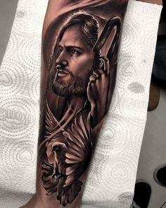 Jesus Tatoo, Jesus Tattoo Sleeve, Lion Tattoo Sleeves, Christ Tattoo, Mens Lion Tattoo, Angel Tattoo Men, Half Sleeve Tattoos Forearm, Tribal Arm Tattoos, Cool Forearm Tattoos