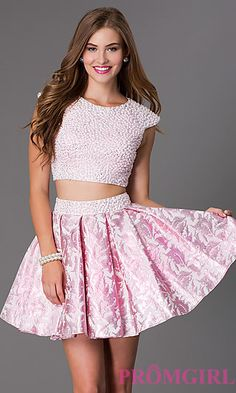 Short Two Piece Cap Sleeve Pearl Dress by Dave and Johnny at PromGirl.com