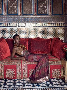 "Pattern Play: When she was growing up in Kenya, Nyong'o says, acting ""wasn't a viable career path. It's not seen as a prestigious profession."" Rodarte metallic lace dress with sequins. Judy Geib Plus Alpha diamond–and–gold filigree earrings. Fred Leighton amber necklaces. Photographed in the tearoom at the Riad Madani."