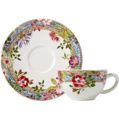 Faïencerie de Gien - service Millefleurs, tasse à thé et soucoupe