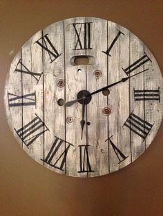 Repurposed spool Clock
